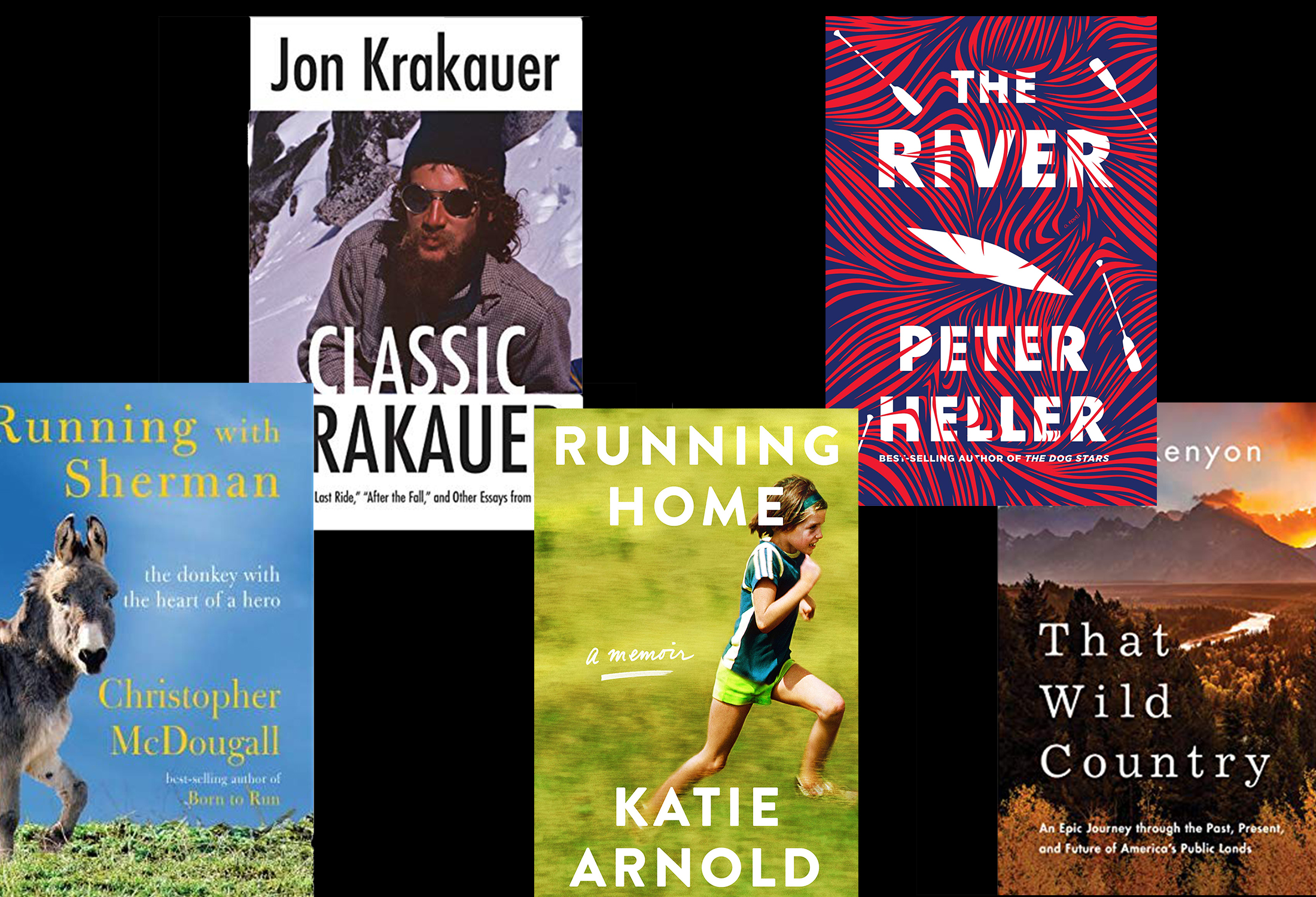 5 outdoor-related book covers against black background