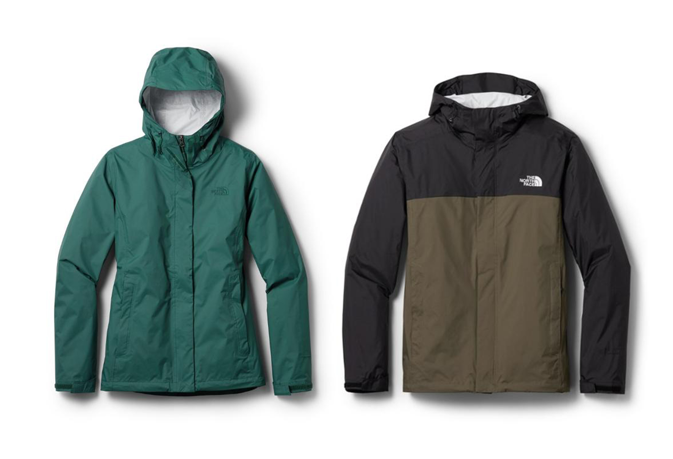 The North Face Venture 2 rain jacket in green with hood up and brown/black with hood down against white background