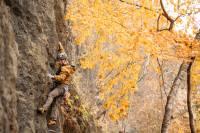 Sport Lead Rock Climbing in the Fall