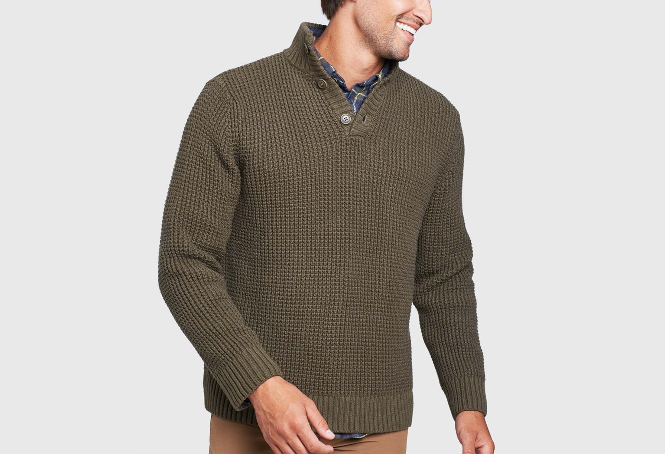 United By Blue quarter-button sweater