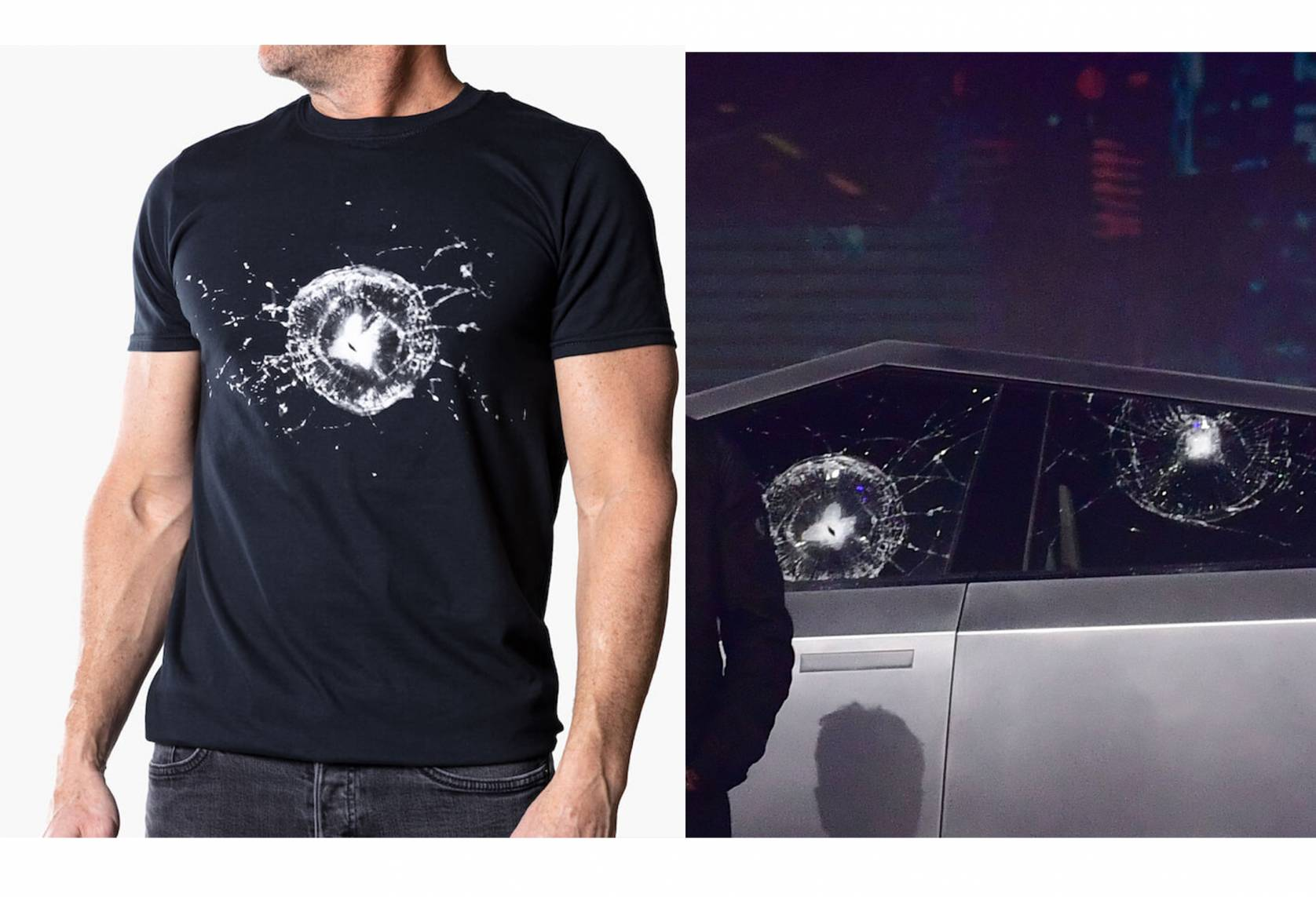 man wearing shortsleeved cybertruck tee with shattered glass (left) and broken glass on cybertruck model (right)