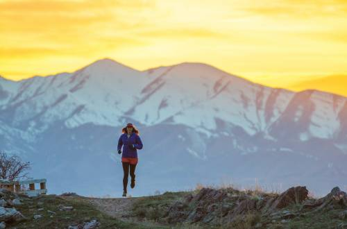 Trail Running in Mountains wearing Patagonia Micro Puff Jacket
