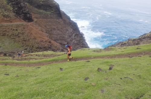 Amanda Basham runs Na Pali Coast