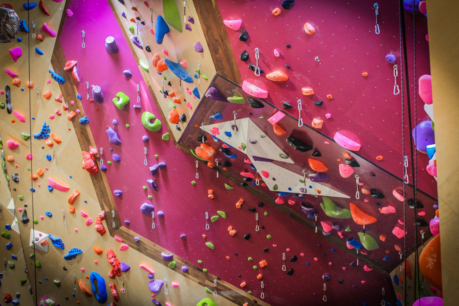 overhanging lead wall at G1 Climbing+Fitness gym