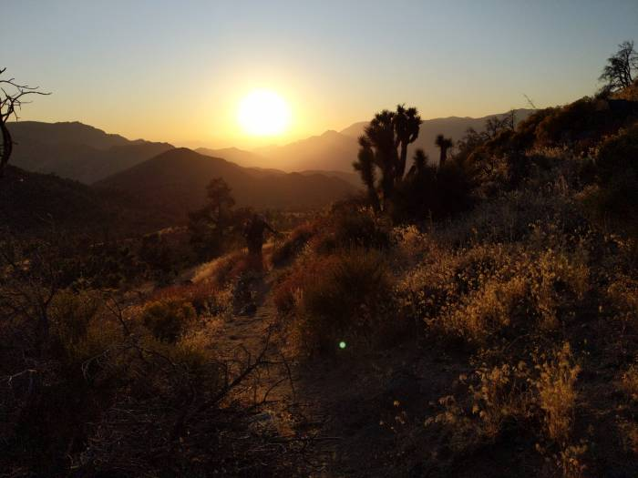 To keep temperatures, hike hot and dry sections of the PCT at dusk. Photo by Liz Thomas