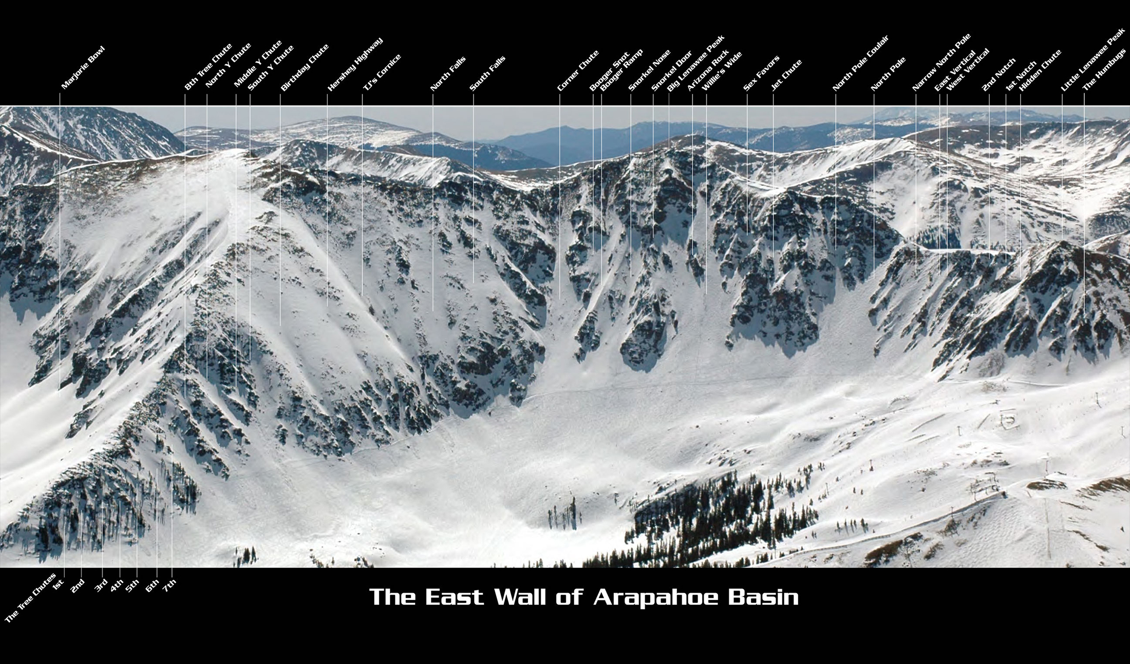 A-Basin Ski East Wall map