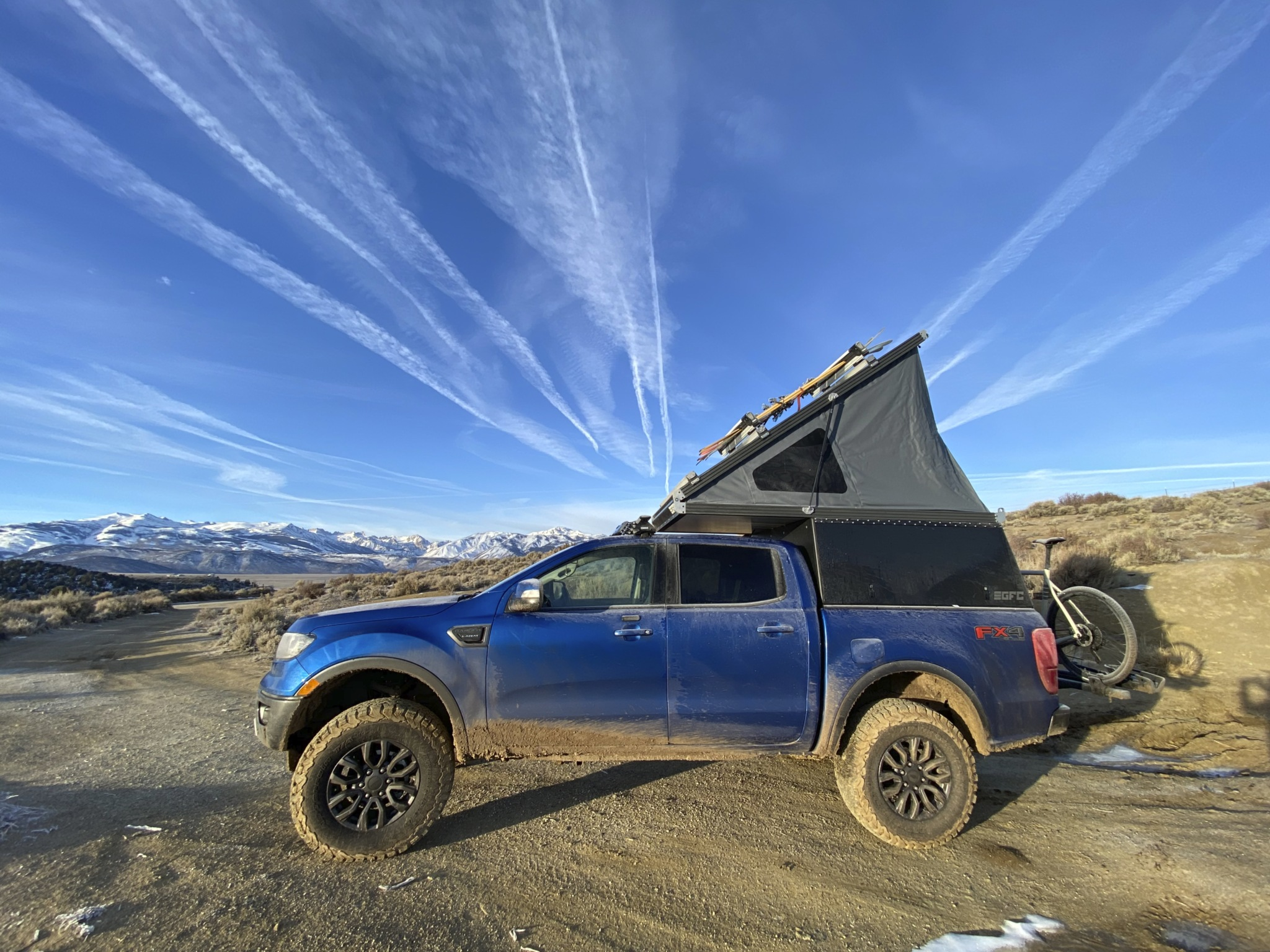 blue Ford Ranger overland build with popup tent