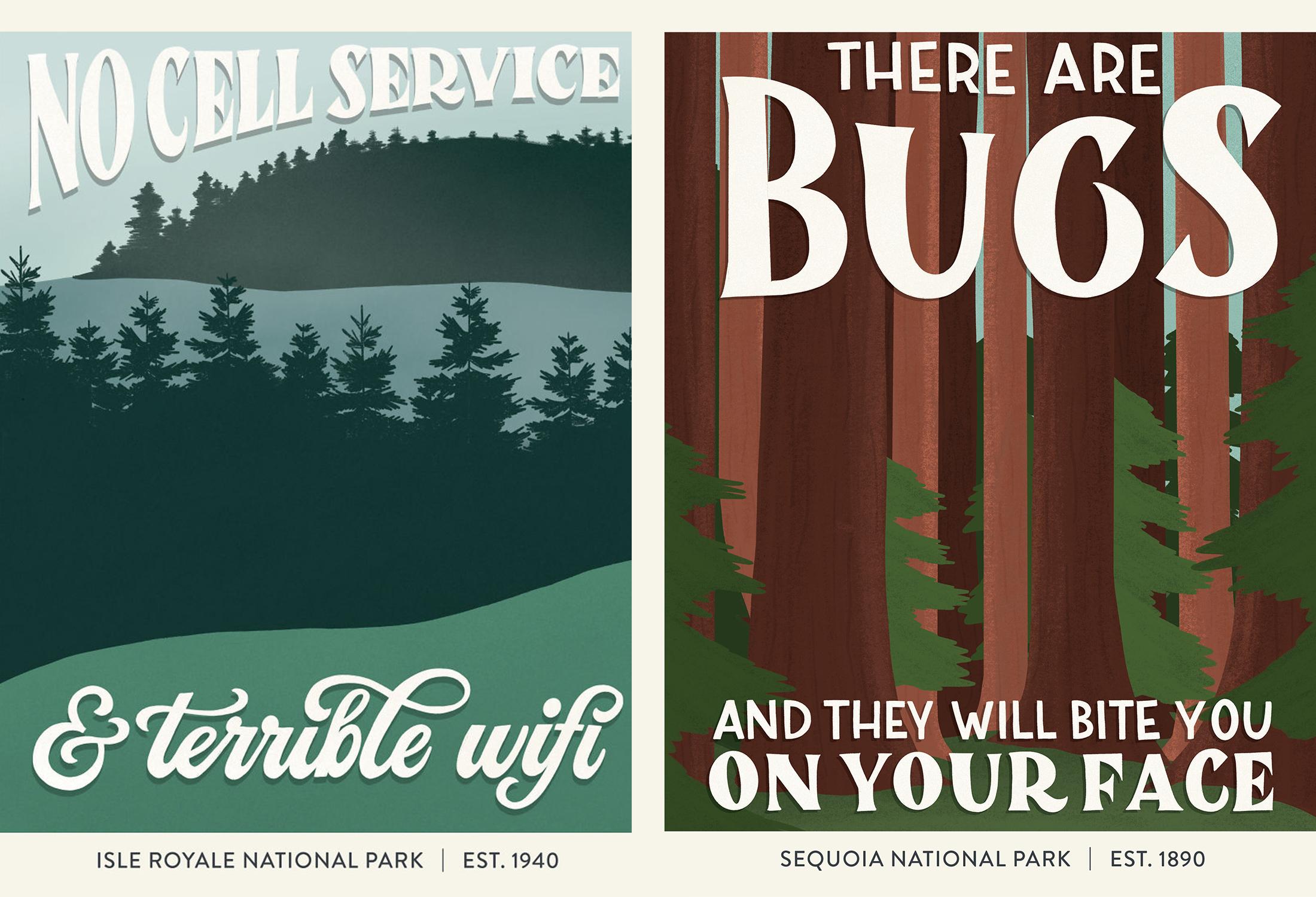 subpar parks poster illustrations for two national parks
