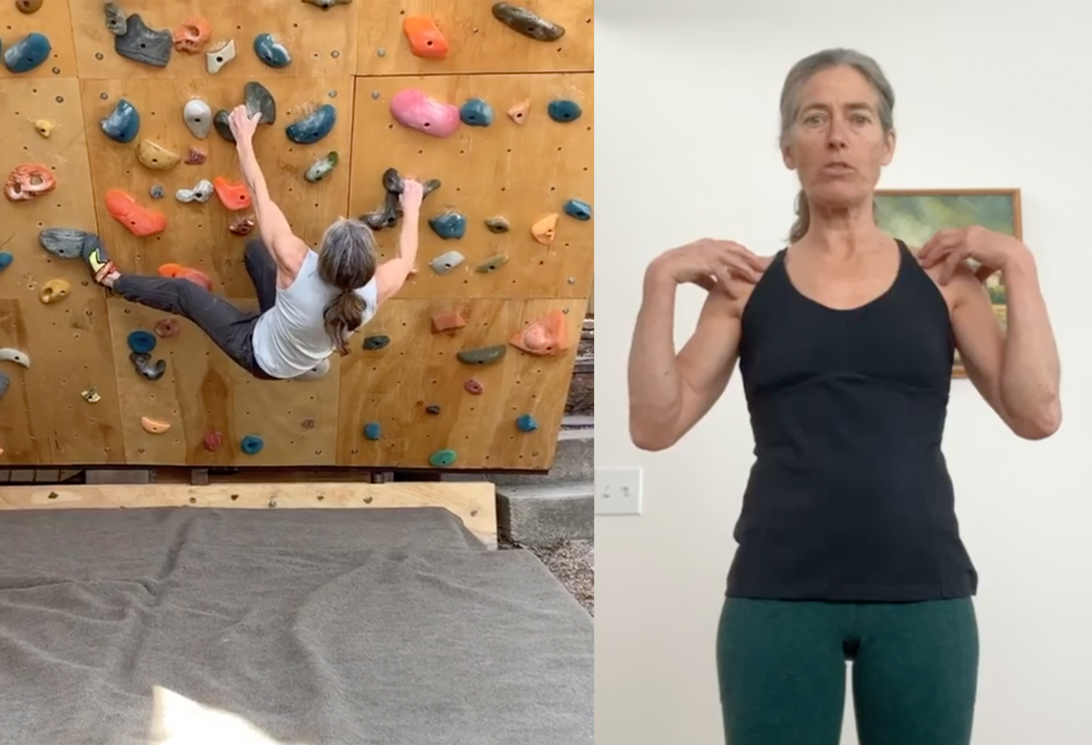 lynn hill climbing on wall and demonstrating shoulder exercise on right