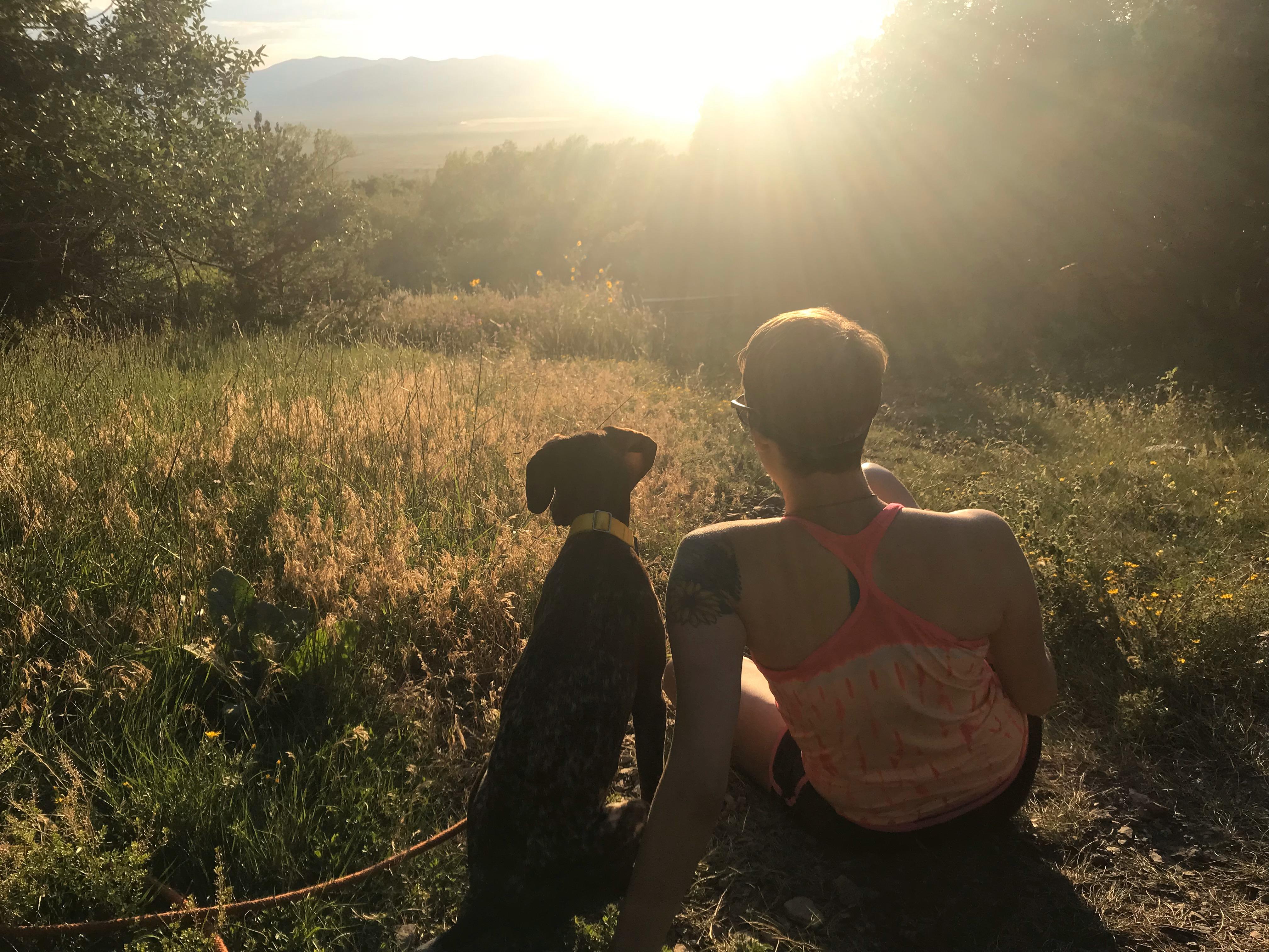 Dog and woman at sunrise