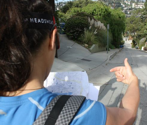 Liz Thomas navigating on an urban hike in Los Angeles. Photo by Gilbert Garcia. jpg