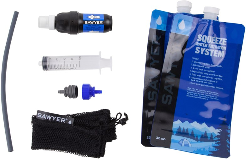 sawyer squeeze filter system - best backpacking water filter