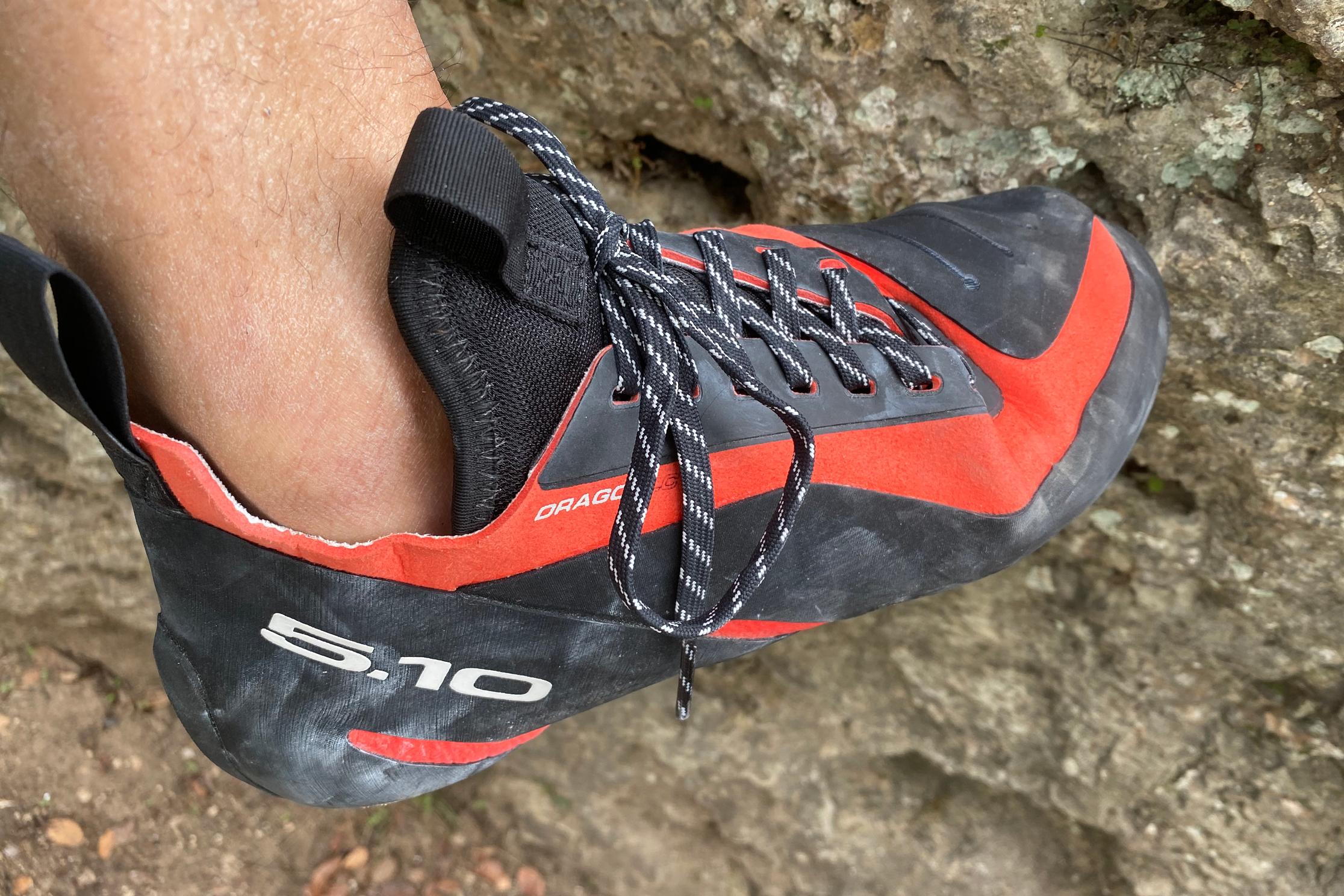 Five Ten Dragon climbing shoe on limestone
