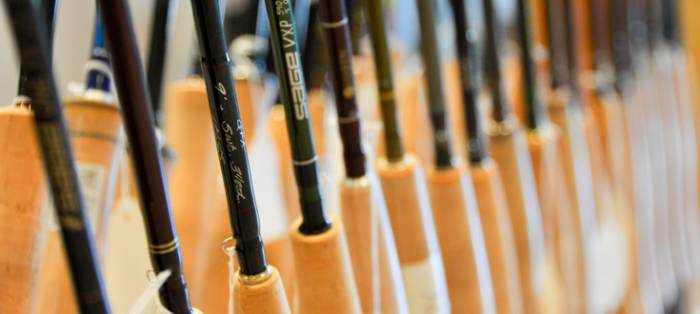 Several Fly Rods Lined Up