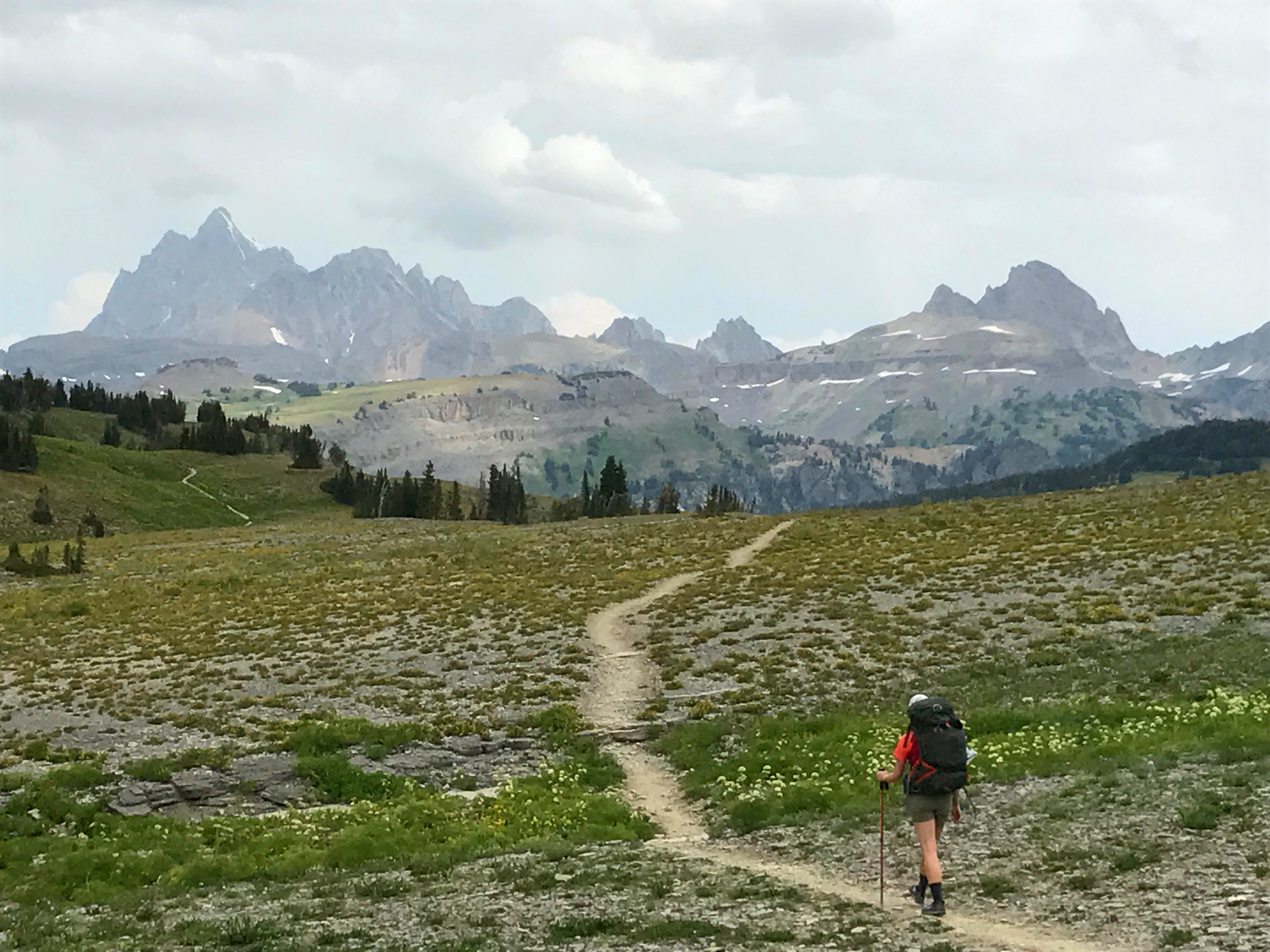 hiker on an open singletrack trail in Grand Tetons national park