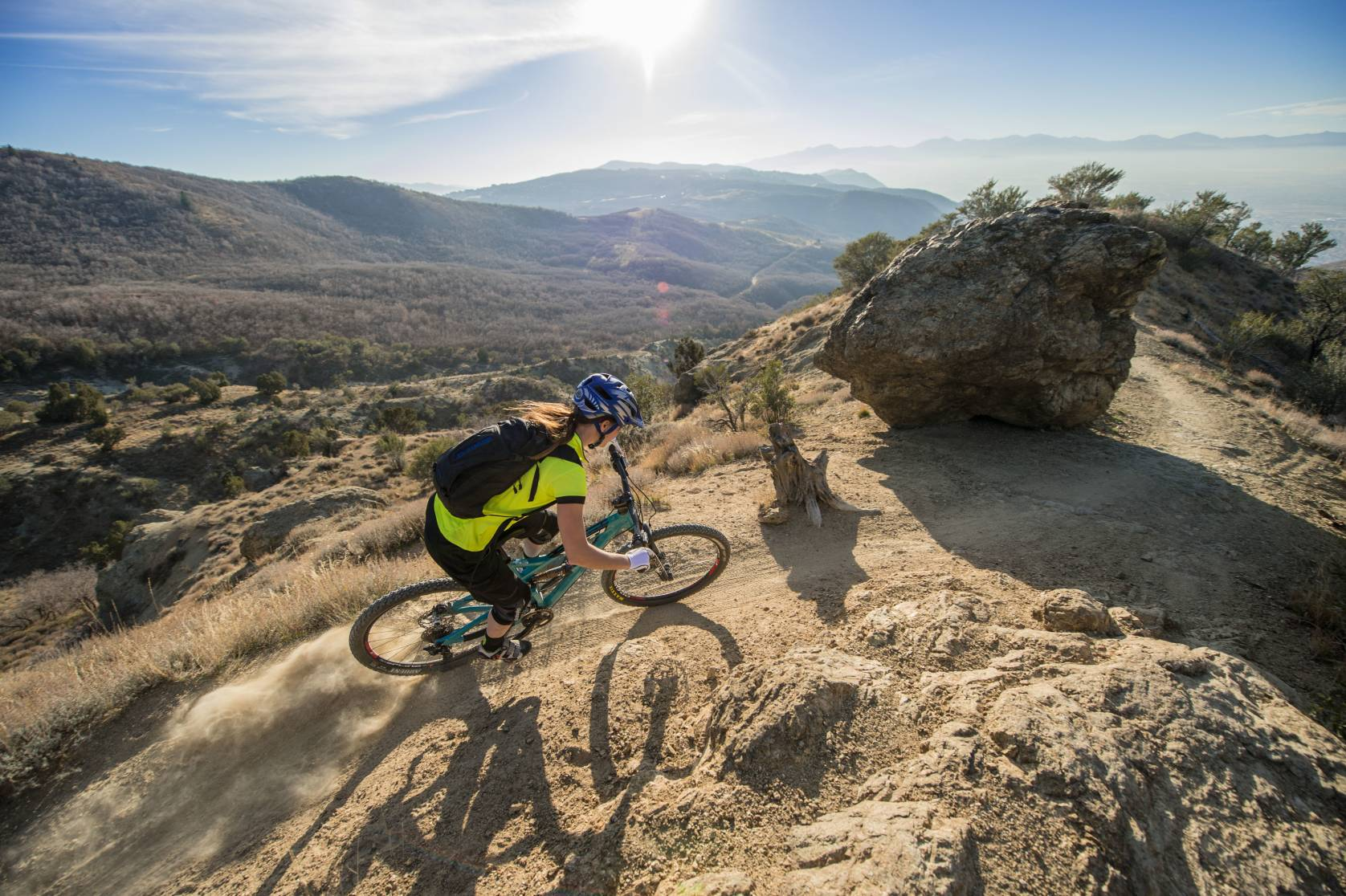 Person desert mountain biking