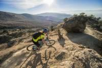 Person desert mountain biking