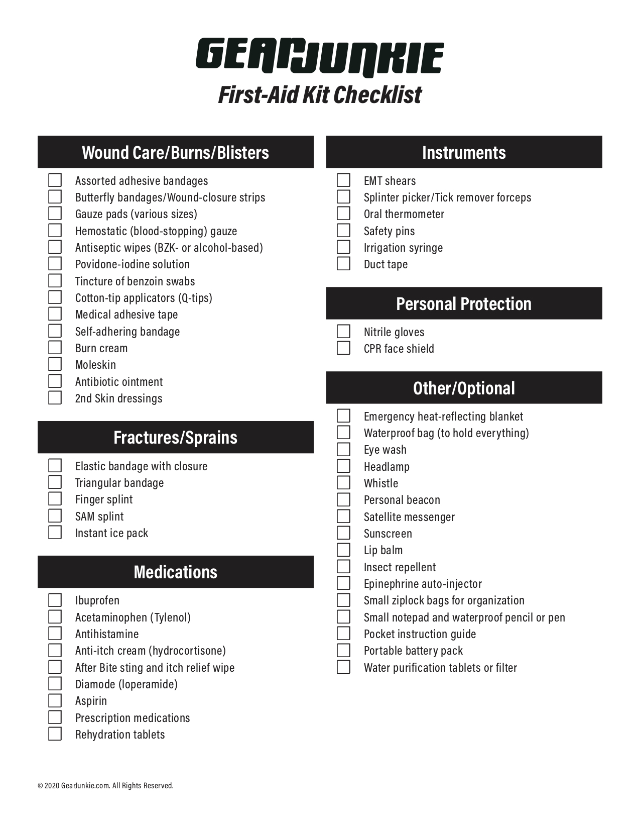 First Aid Kit Checklist Essential Backcountry Medical Supplies
