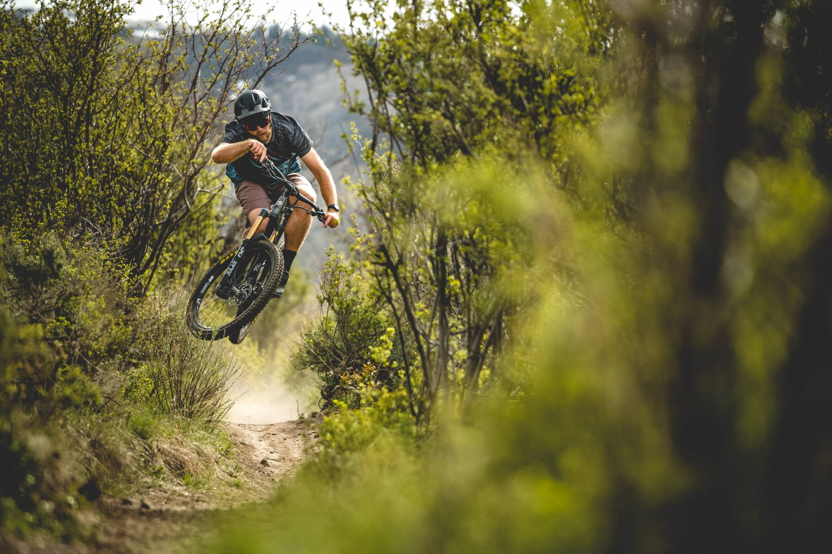 Guy Getting Some Air on a Mountain Bike