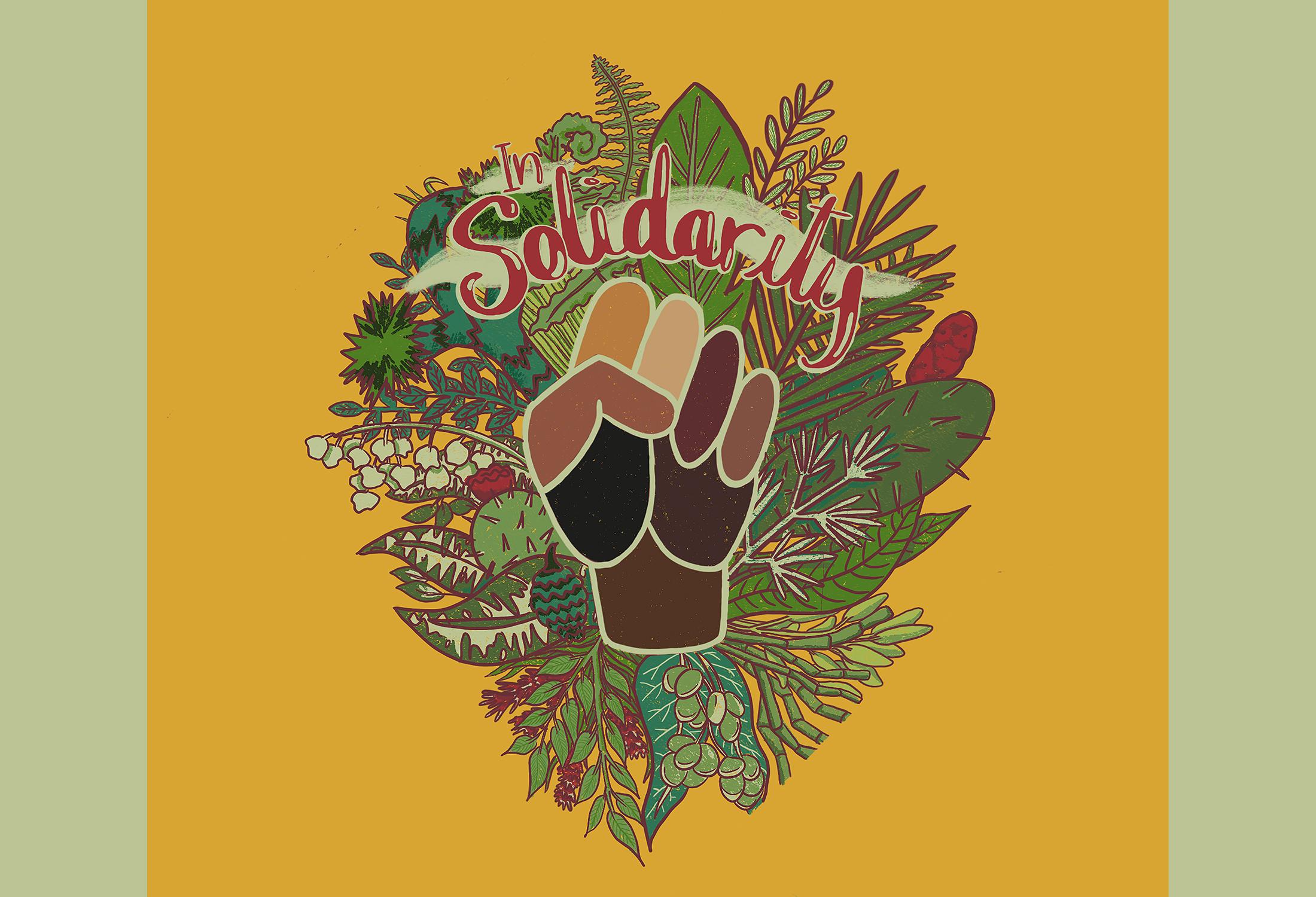 In Solidarity collaboration Kula Cloth design by Latasha Dunston
