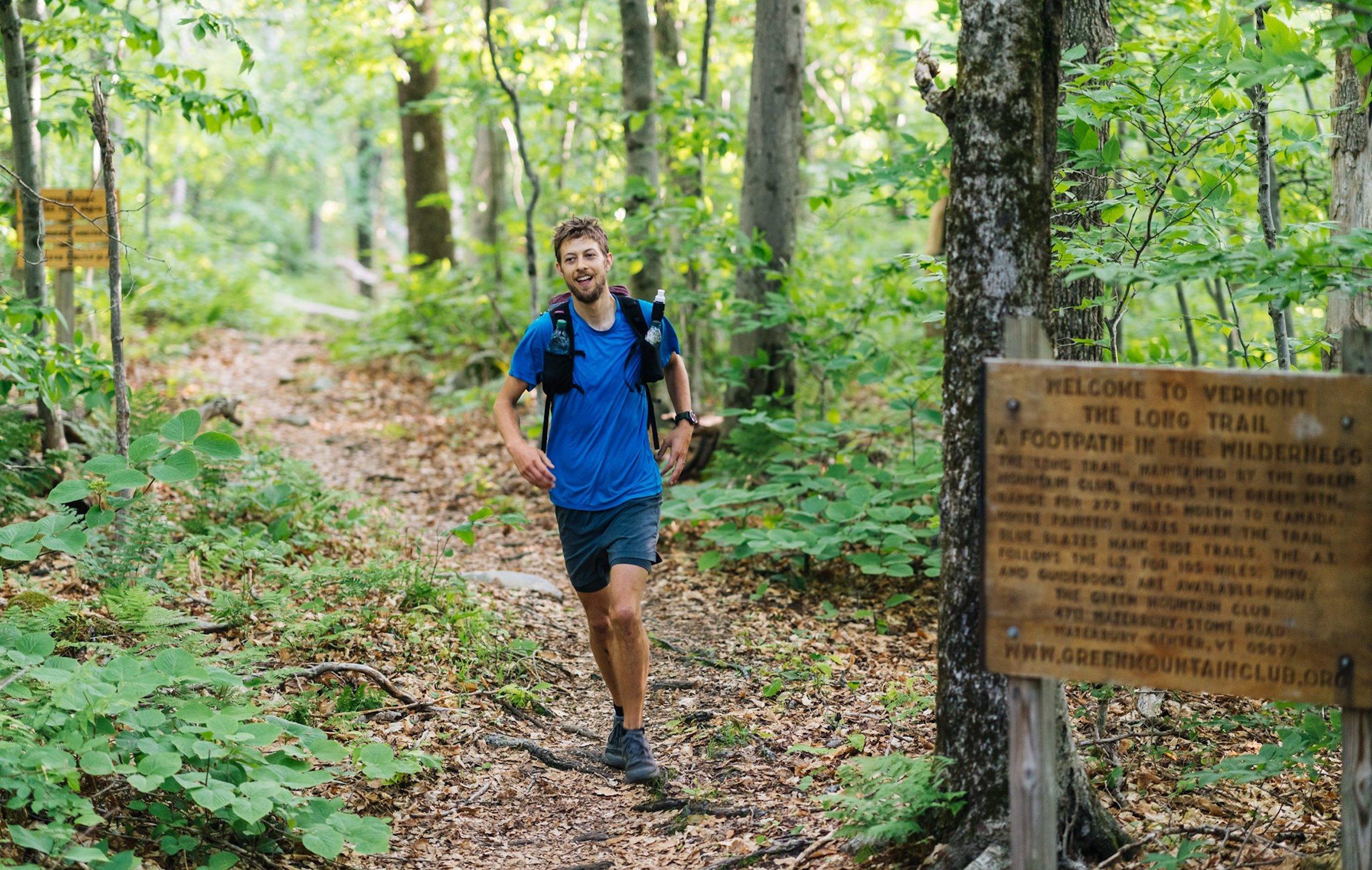joe stringbean mcconaughy running the Long Trail in vermont