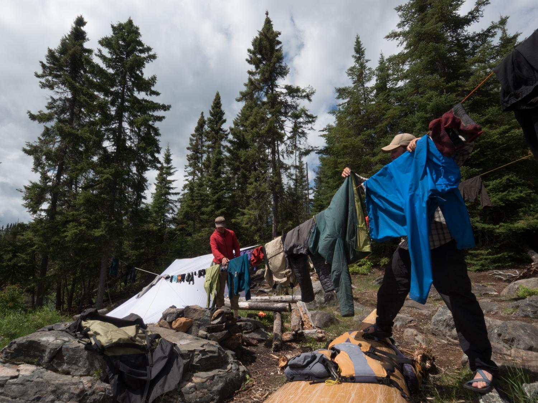 clothing layers drying at camp