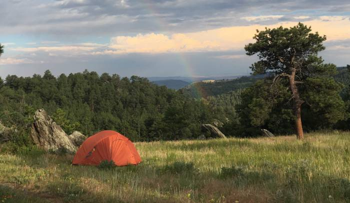 tent and rainbow