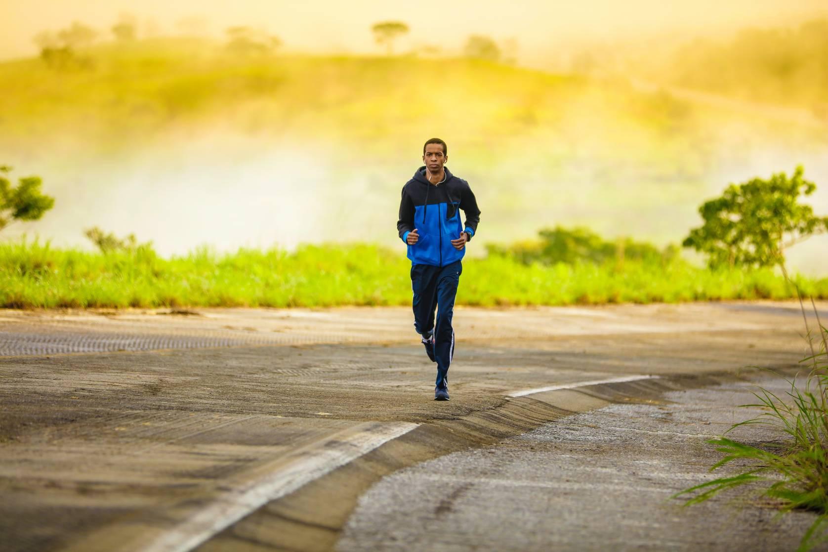 Man running in tracksuit
