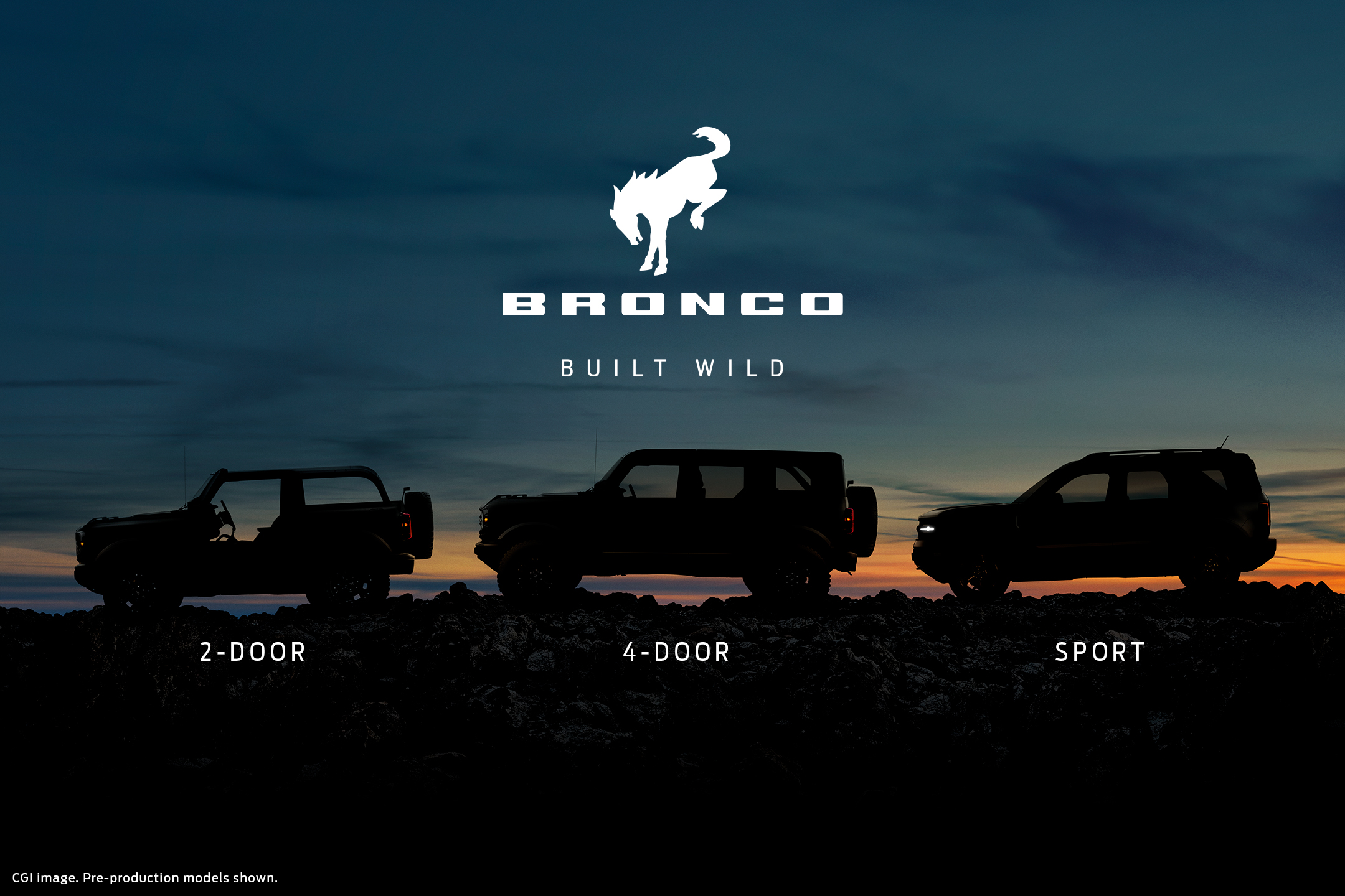 ford bronco lineup teaser rendering
