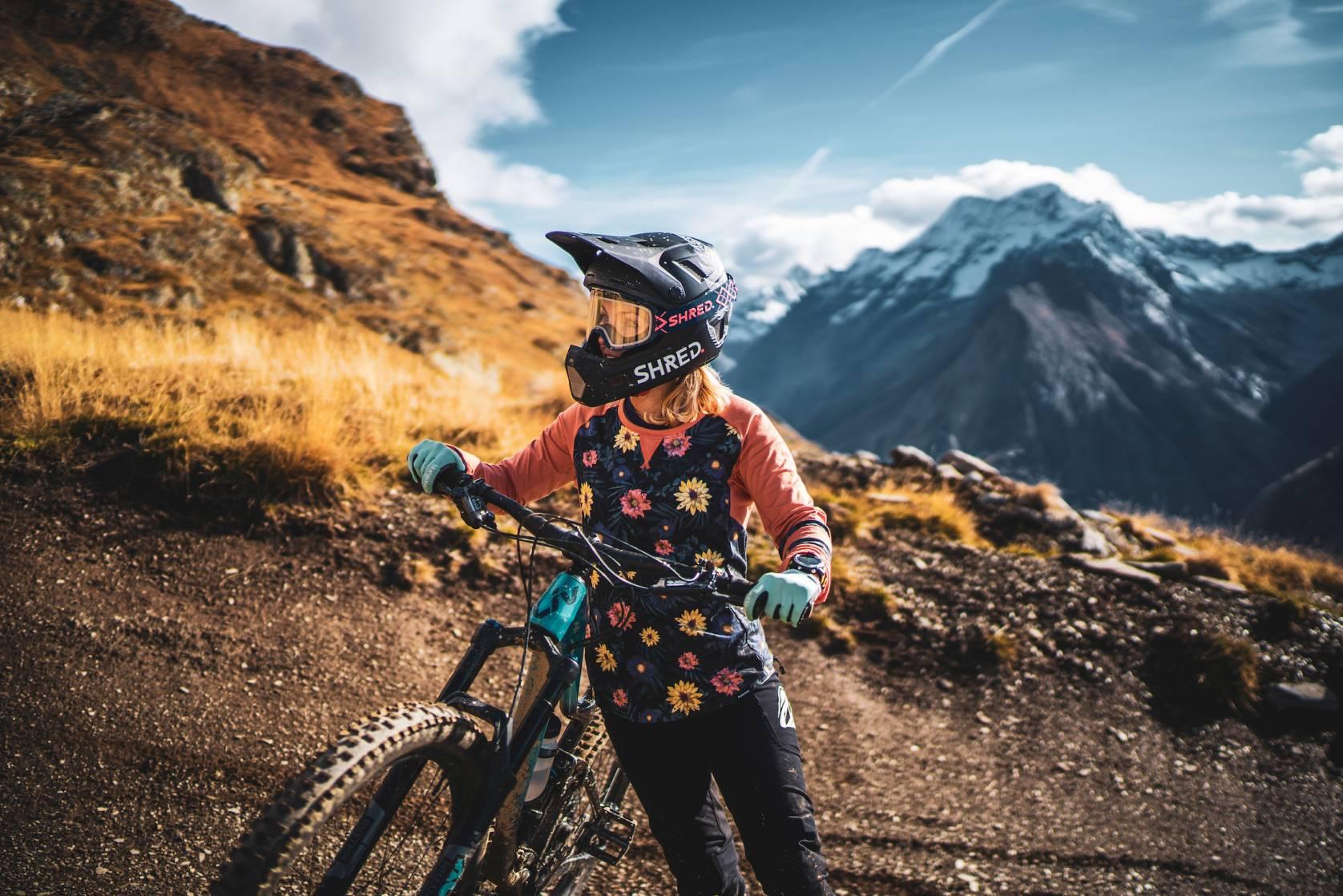 mountain biker SHRED helmet