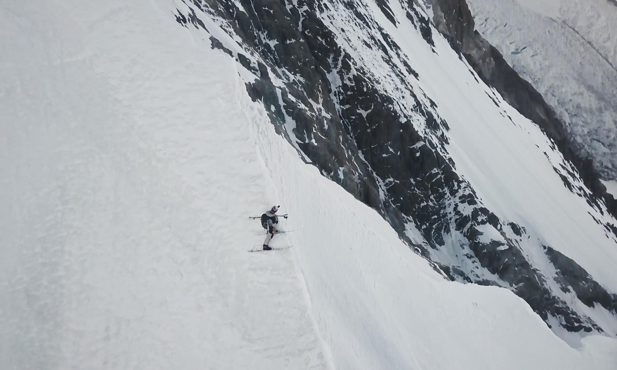 Andrzej Bargiel descending K2 on skis