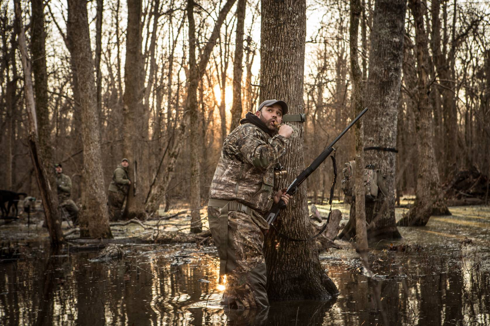 Duck hunting in a flooded forest