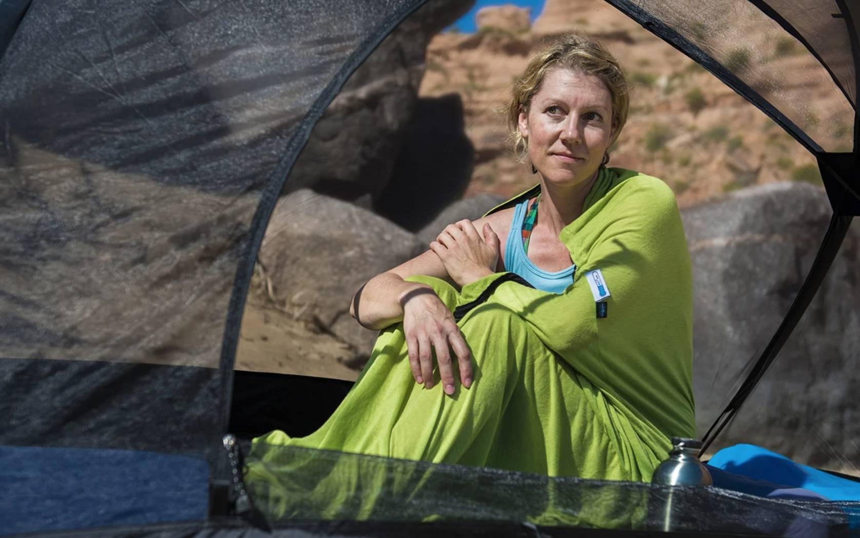 woman in sea to summit coolmax sleeping bag liner