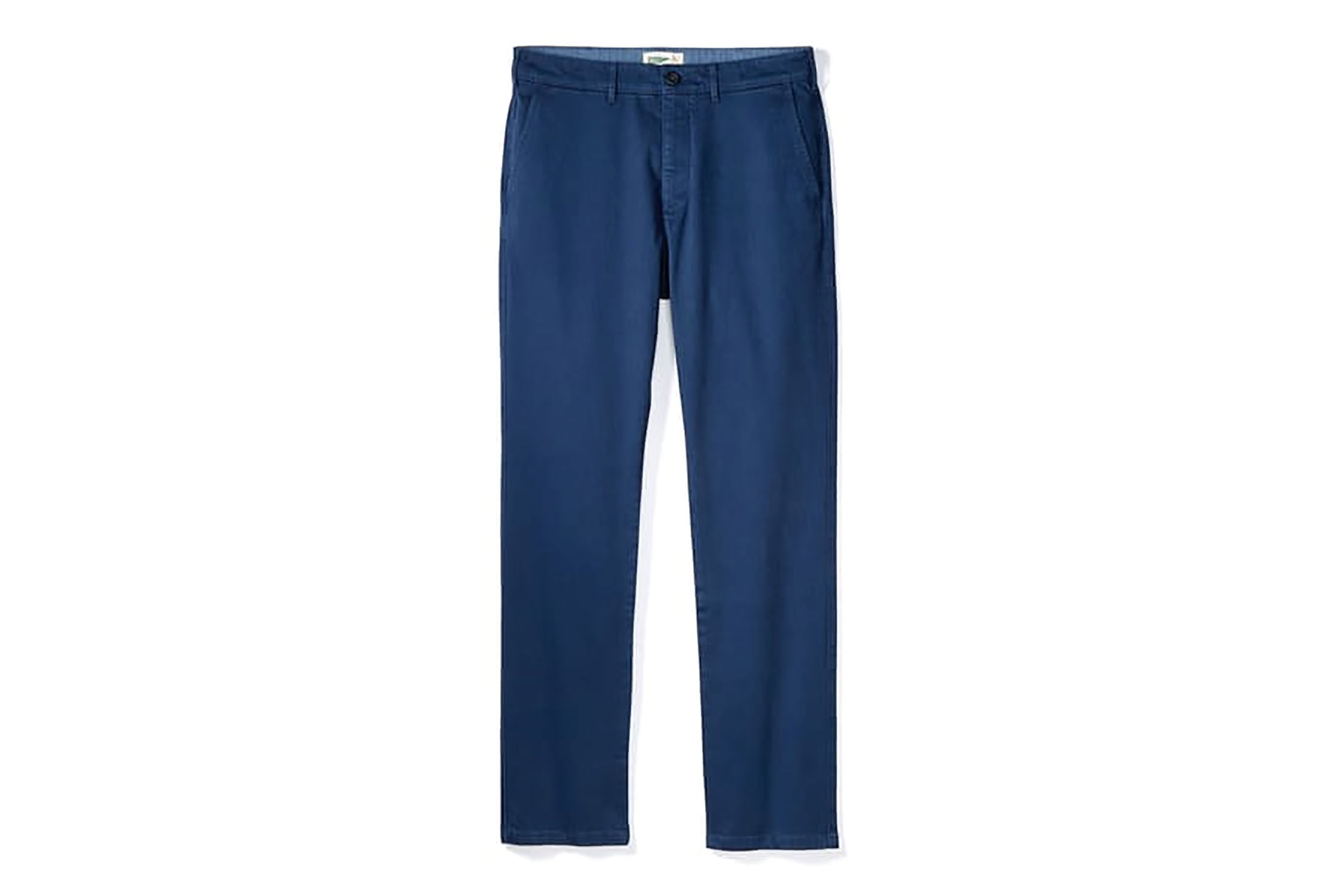 Blue chinos on white background