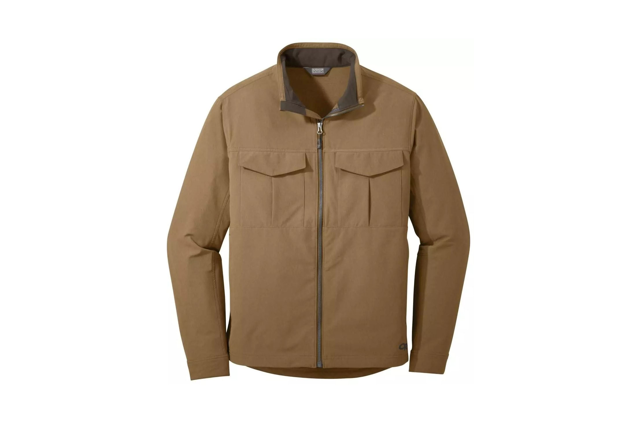 Tan jacket on white background