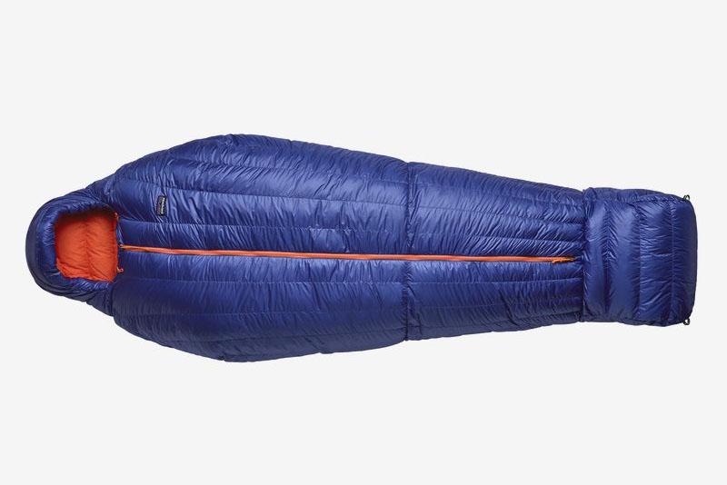 Blue sleeping bag on white background