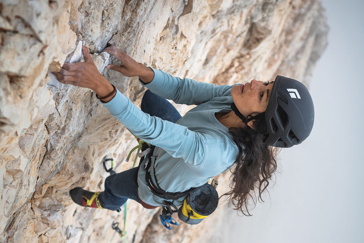 Person Rock Climbing in Black Diamond Vision Helmet