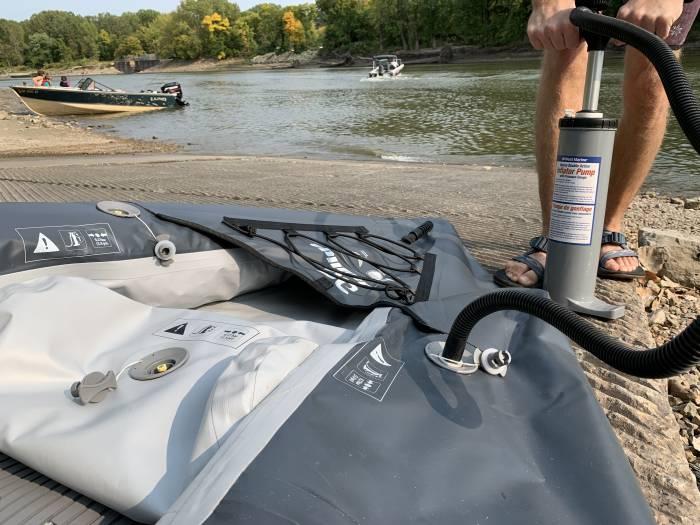 Inflating the Aquaglide Deschutes 145 tandem kayak