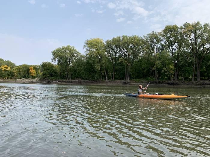kayaking in the lightweight Aquaglide Deschutes 145 tandem inflatable kayak