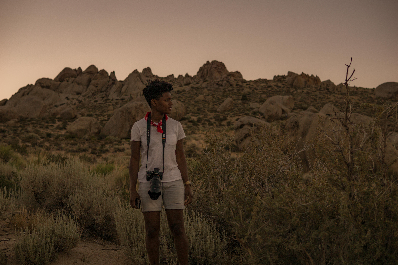Outdoor photographer in the desert