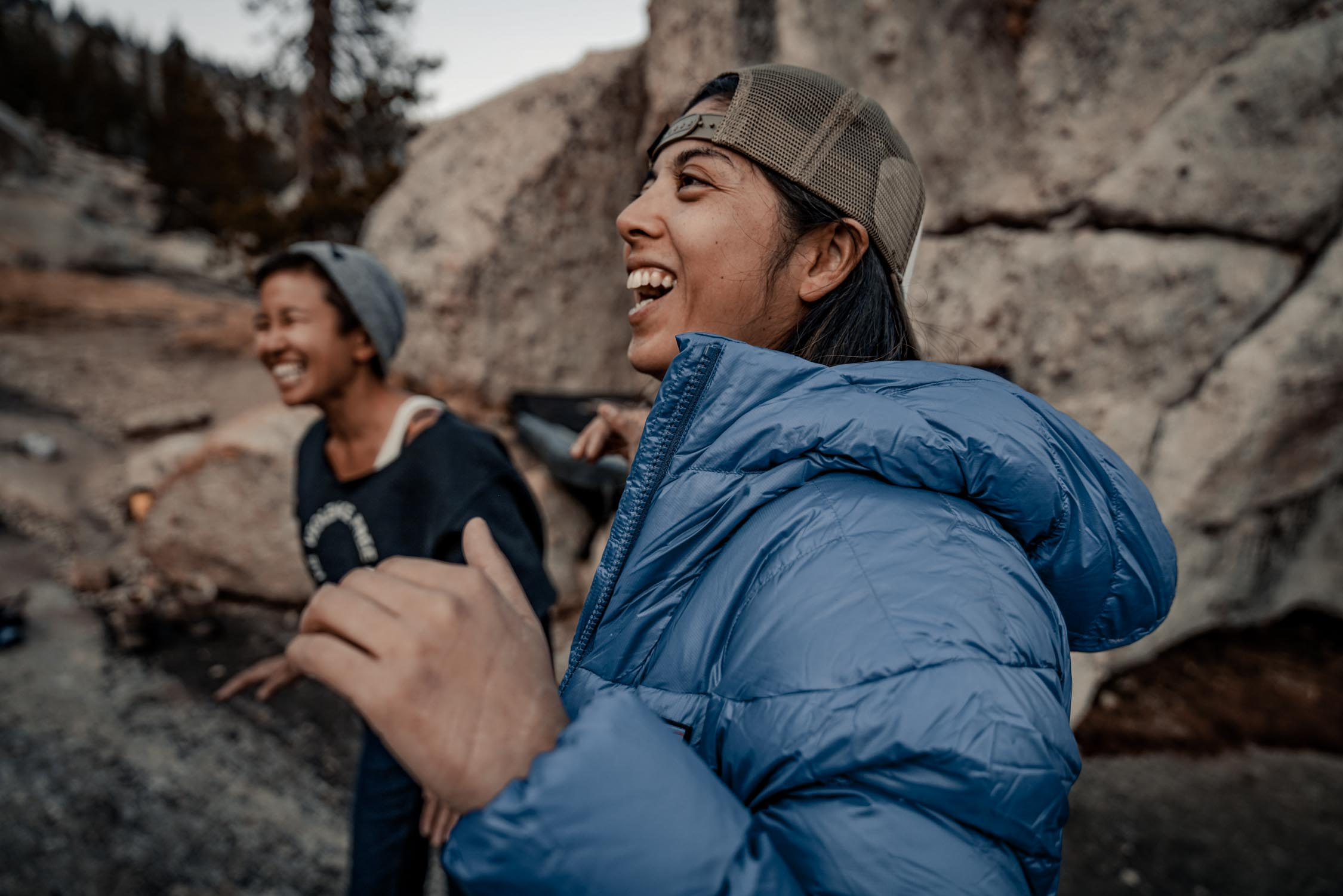 climbers laughing and smiling