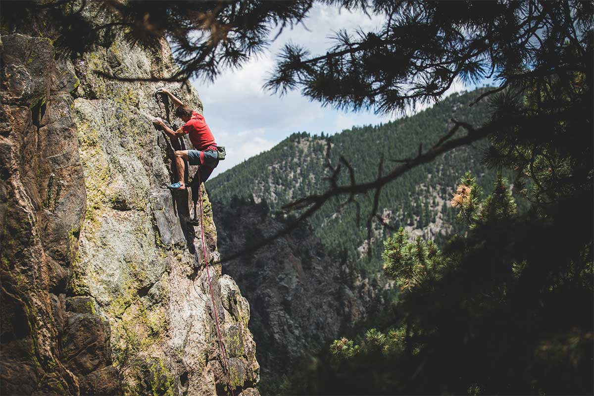 Person Rock Climbing in Arc'teryx Gear