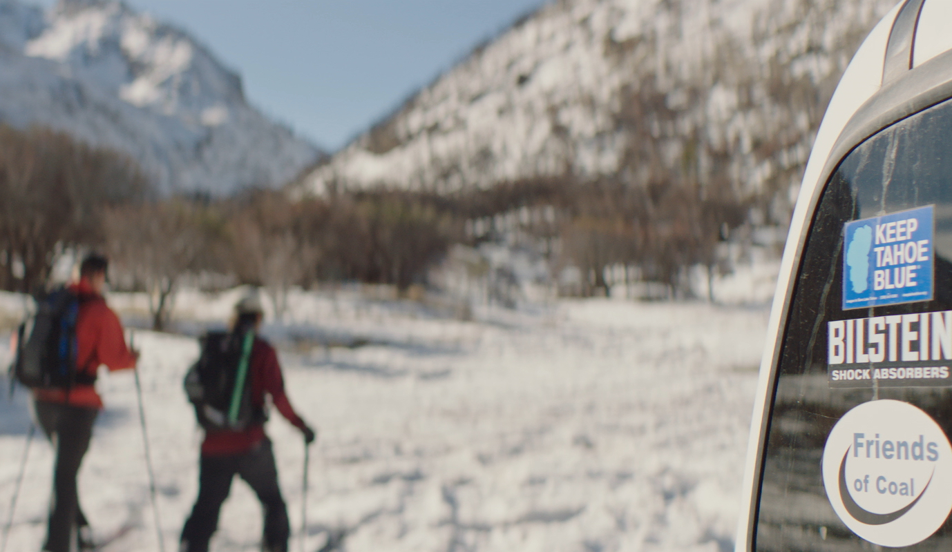 Skiers in Purple Mountains film