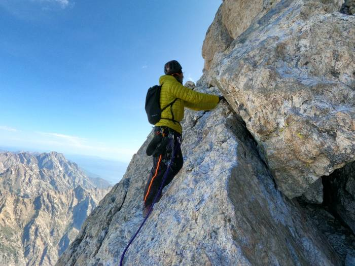 """Climbing the infamous """"Belly Roll"""" section of the Owen Spalding Route on the Grand Teton"""