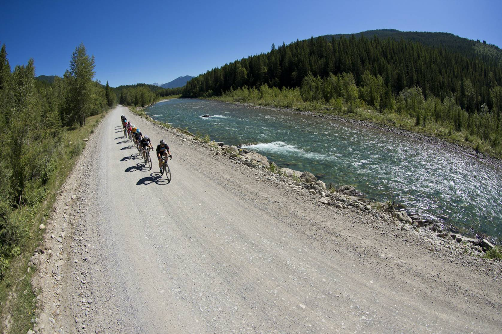 gravel riding Bull River, B.C., Canada