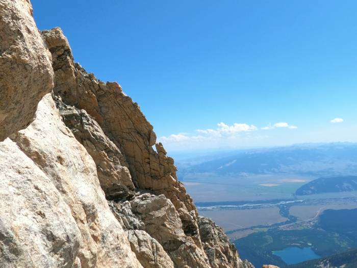 Viewing the Petzold Window Pitch on the Grand Teton from The Lower Exum Rock Climbing Route