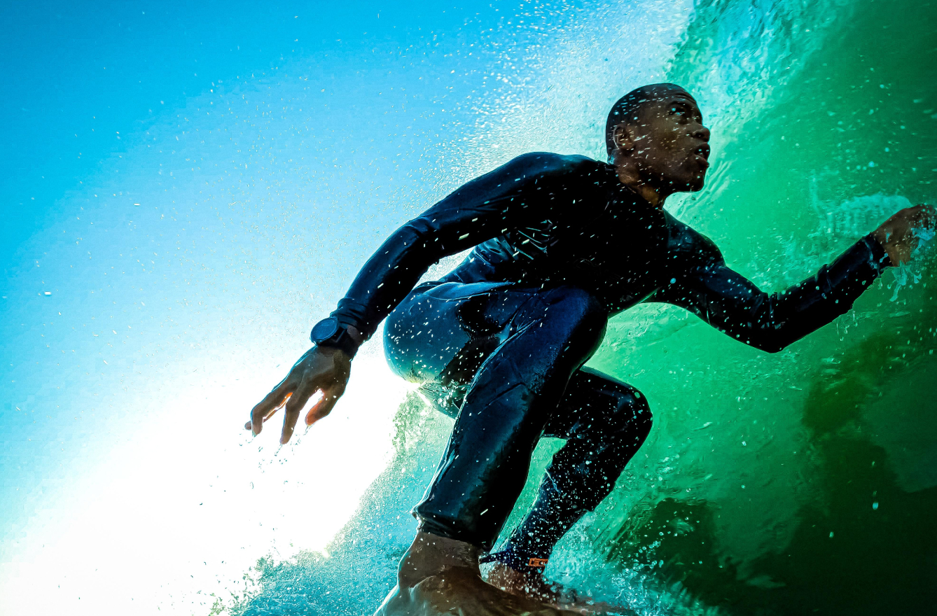 Andre King is surfing