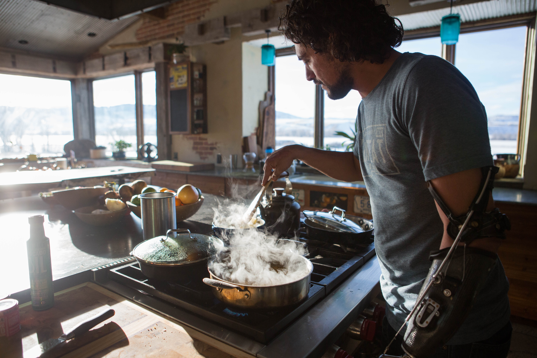 Eduardo Garcia at home cooking