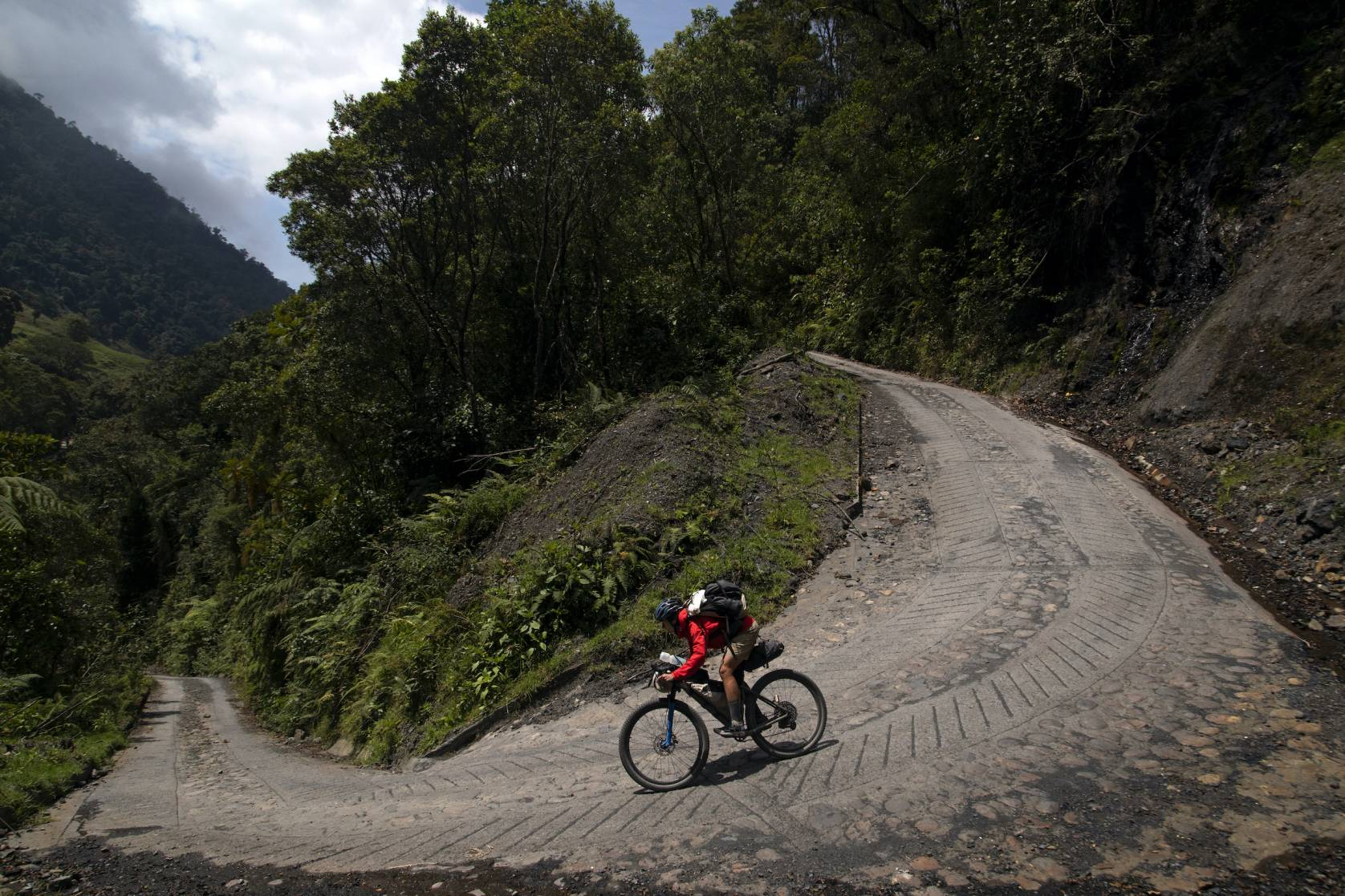 cyclist Lael Wilcox on Chingaza route in Colombia