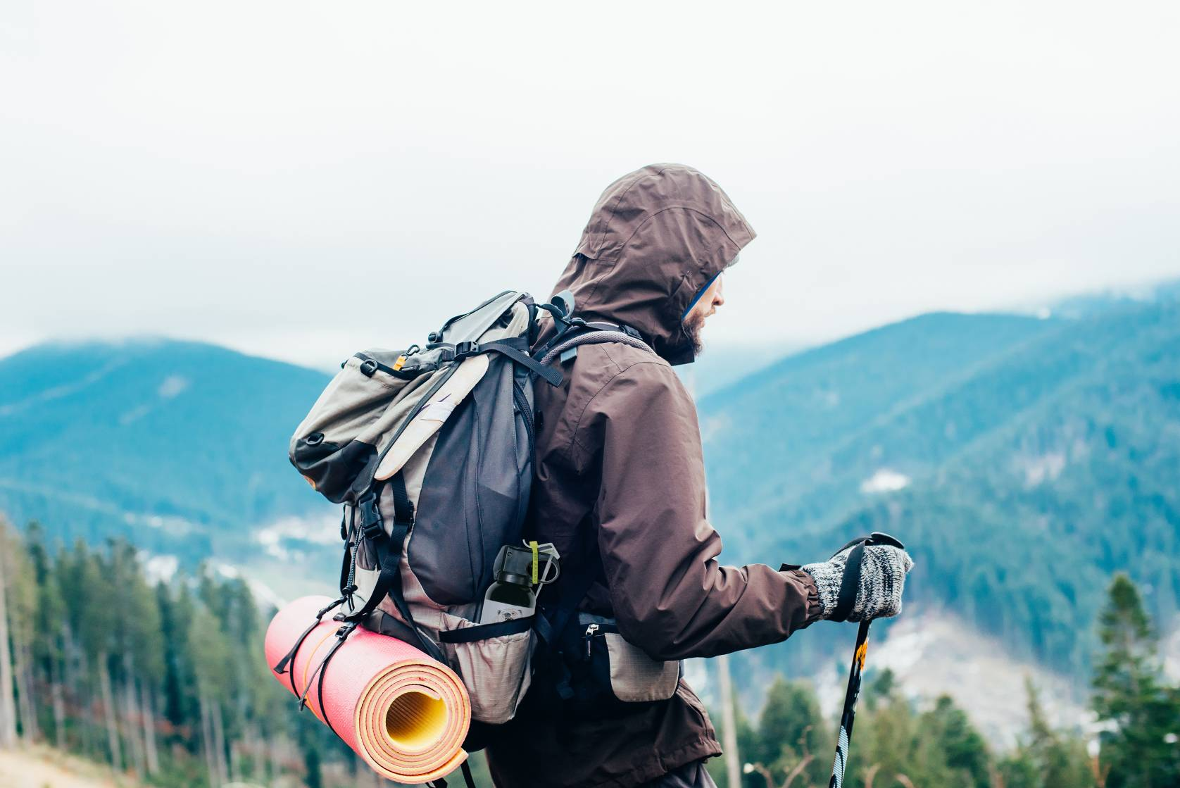 man backpacking in bear country